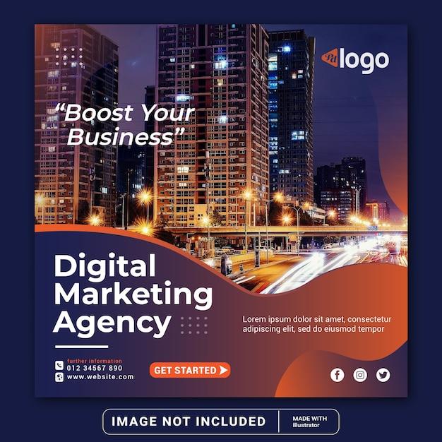 Бизнес-продвижение и корпоративный баннер для шаблона поста в социальных сетях instagram или квадратного флаера Premium векторы