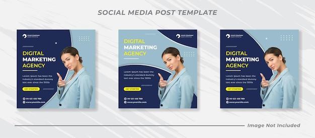 Бизнес-продвижение и корпоративный баннер в социальных сетях или квадратный флаер Premium векторы
