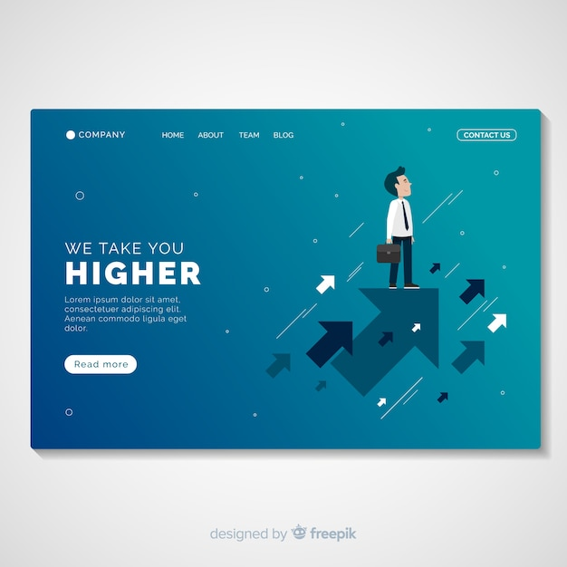 Business promotion landing page template Free Vector