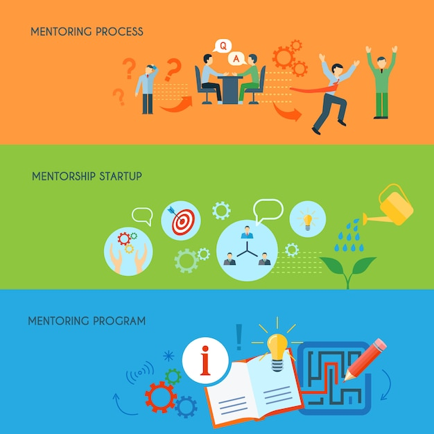Business public relations in education mentorship process program concept Free Vector