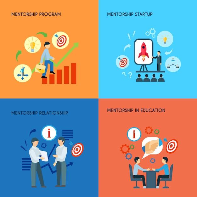 Relazioni pubbliche di affari nel concetto di programma startup di mentorship di istruzione Vettore gratuito