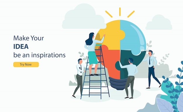 Business puzzle idea for business success with flat Premium Vector