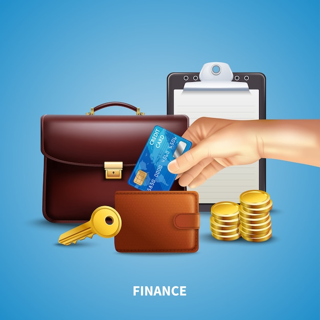 Business realistic concept Free Vector