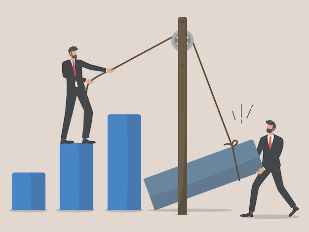 Восстановление бизнеса, сотрудники или бизнесмен восстанавливают бизнес после вспышки коронавируса, командная работа Premium векторы