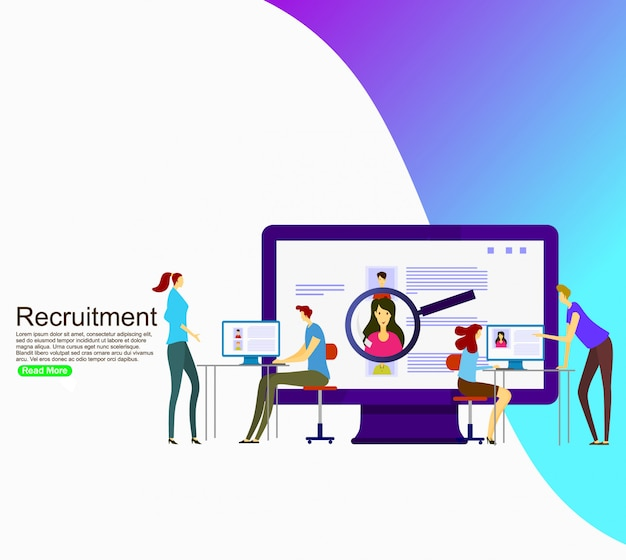 Business recruiting for website. template Premium Vector