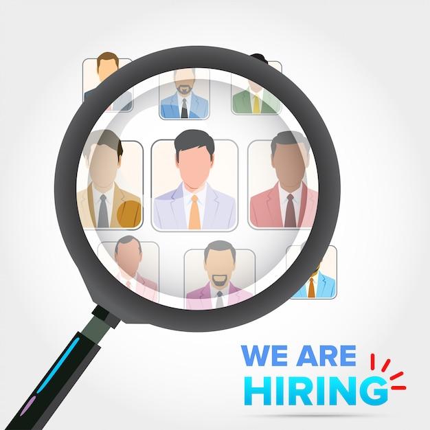 Business recruitment hiring. selecting businessman Premium Vector