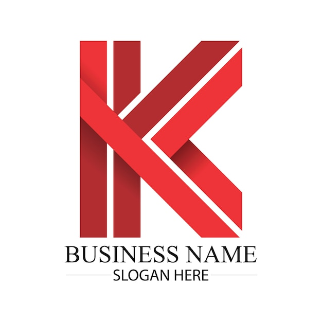 Business red k letter logo Premium Vector