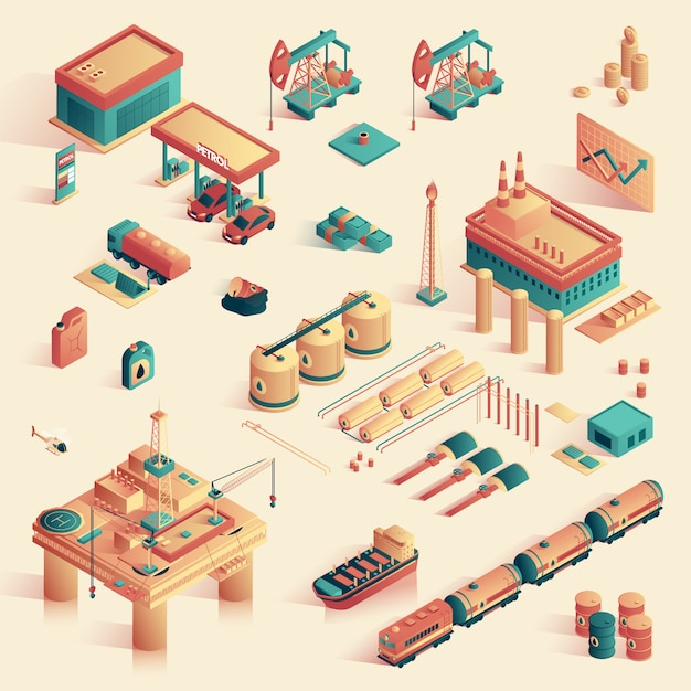 Business in refinery mini plant isometric 3d. Premium Vector