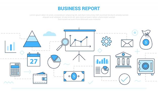 モダンなラインスタイルのグラフとチャートのプレゼンテーションドキュメントのようなさまざまなアイコンラインを持つビジネスレポートの概念 Premiumベクター