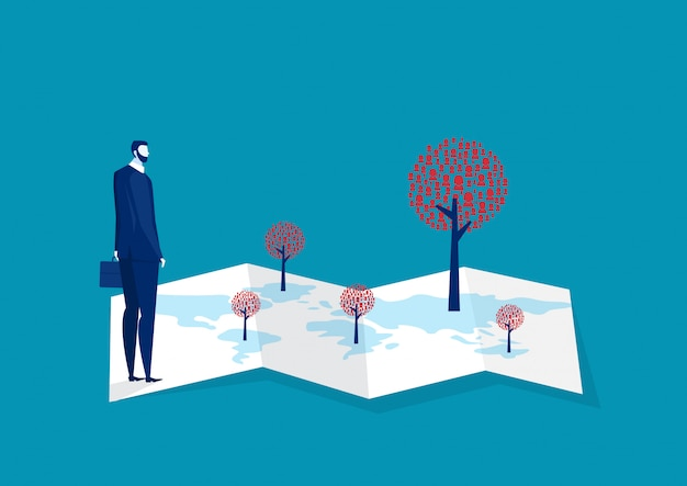 Business research location for marketing people . Premium Vector
