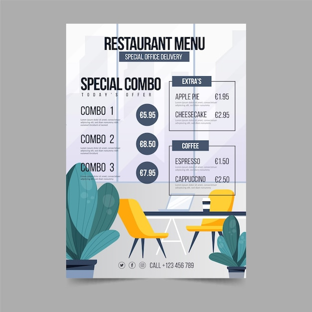 Modello di menu del ristorante aziendale Vettore gratuito