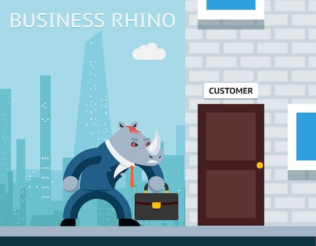 Деловой носорог. злой бизнесмен. характерное животное работа, рог и костюм. Бесплатные векторы