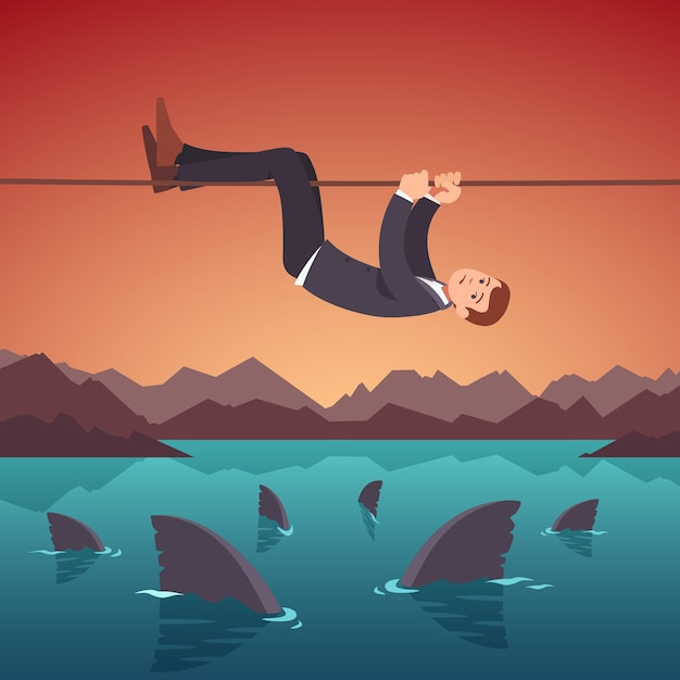 Business risks and difficulties concept Free Vector