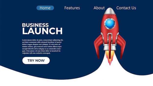 Business rocket launch project landing page Premium Vector