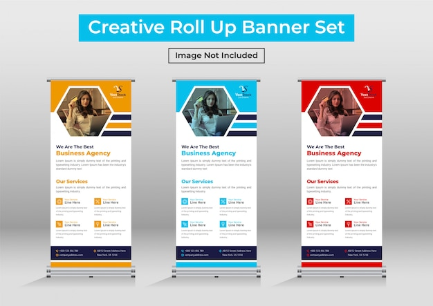 Business roll up banner set, corporate standee banner template Premium Vector
