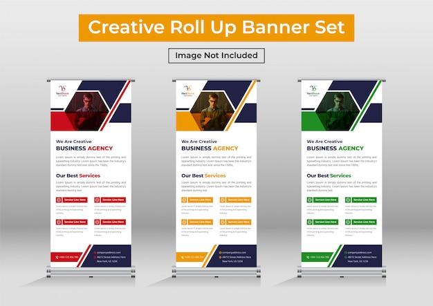Business roll up banner set, modern standee banner template Premium Vector