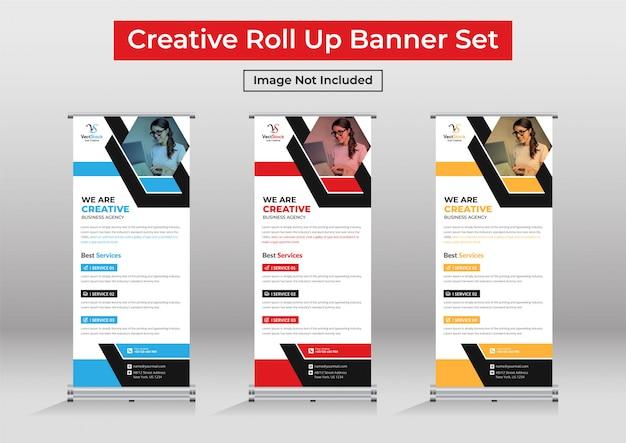 Business roll up banner set, standee banner template Premium Vector