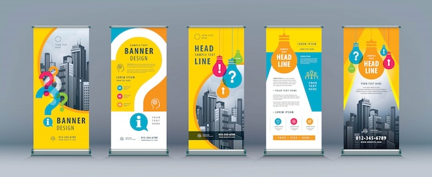 Business roll up banner set. Premium Vector