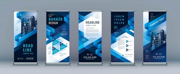 Business roll up banner set. Premium Vector