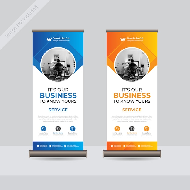 Business roll up banner, standee business banner template premium Premium Vector
