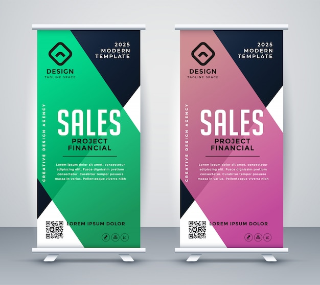 Business roll up banner or standee design template Free Vector