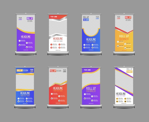 Business roll up banner vertical template design, for brochure, business, flyer, infographics. roll up banner stand design with abstract geometric colorful speech bubble. Premium Vector