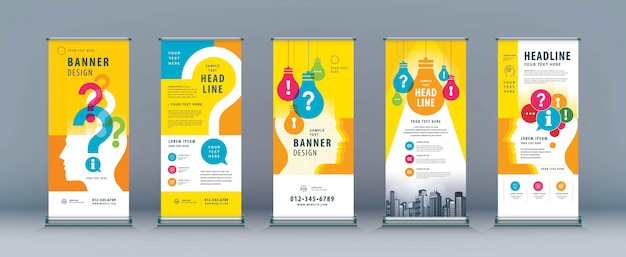 Business roll up set. banner template with light bulb and question mark Premium Vector