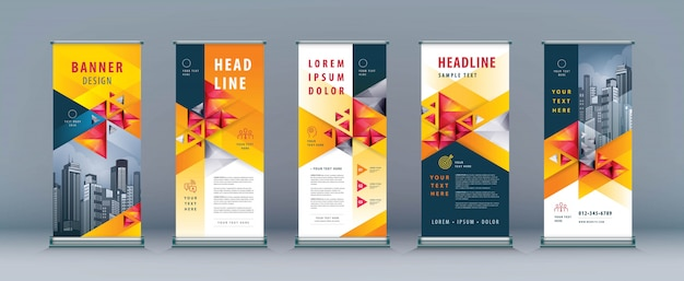 Business roll up set, standee banner template, geometric triangle Premium Vector