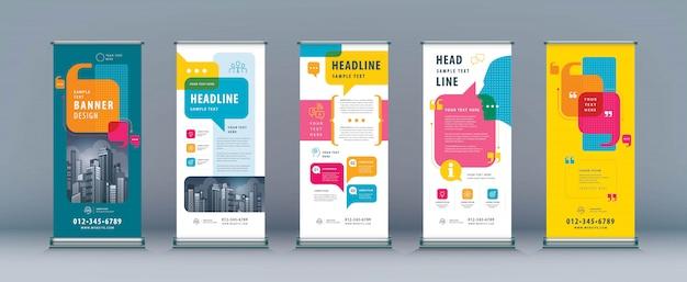 Business roll up set, standee banner template, speech bubbles vector Premium Vector