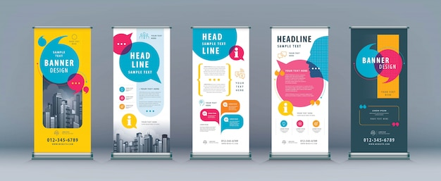 Business roll up set, standee banner template Premium Vector