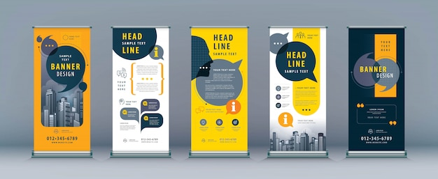 Business roll up set, standee banner template Premium Vector