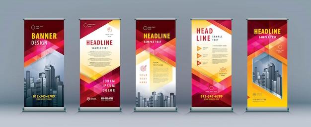 Business roll up set. standee design Premium Vector