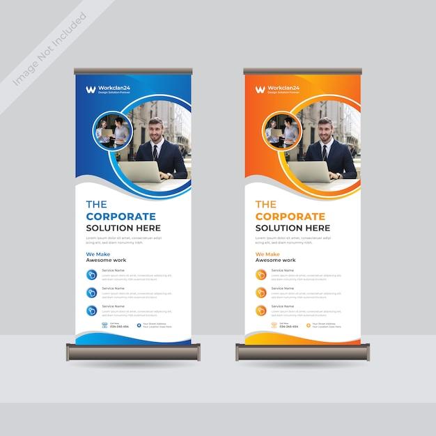 Business roll up standee banner template premium Premium Vector