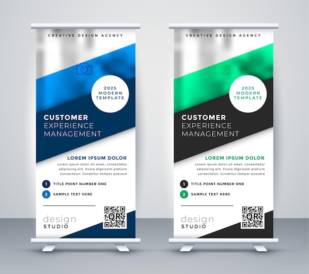 Business roll up standee banner template Free Vector