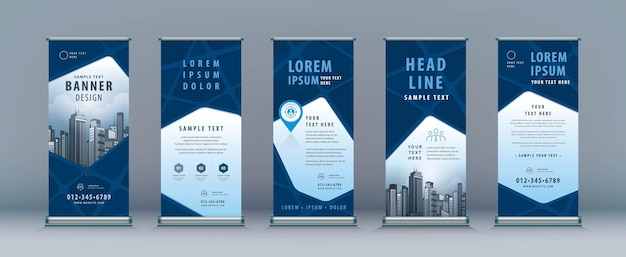 Business roll up. standee design. banner template, abstract geometric road map, j-flag stand display Premium Vector