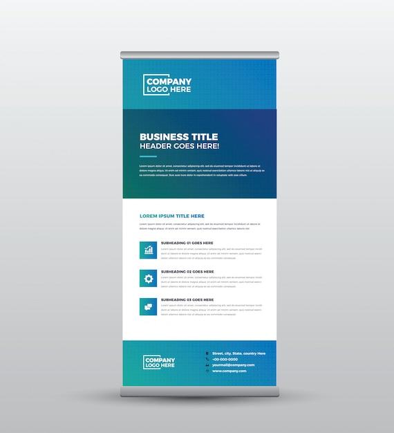 Business roll up standing banner & poster design Premium Vector