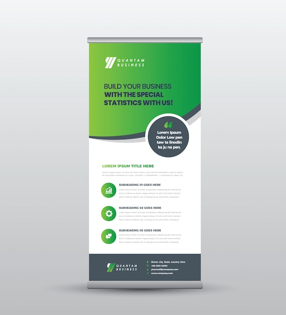 Business roll up standing banner & poster design Premium Vector