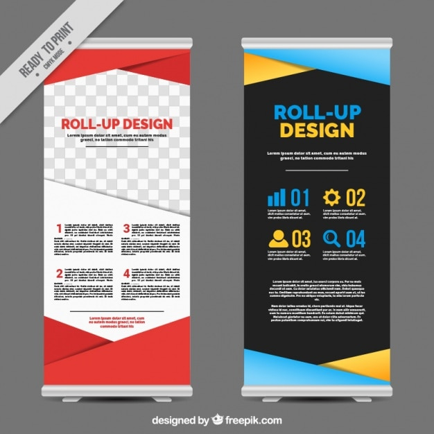Business Roll Up With Colorful Geometric Shapes Vector