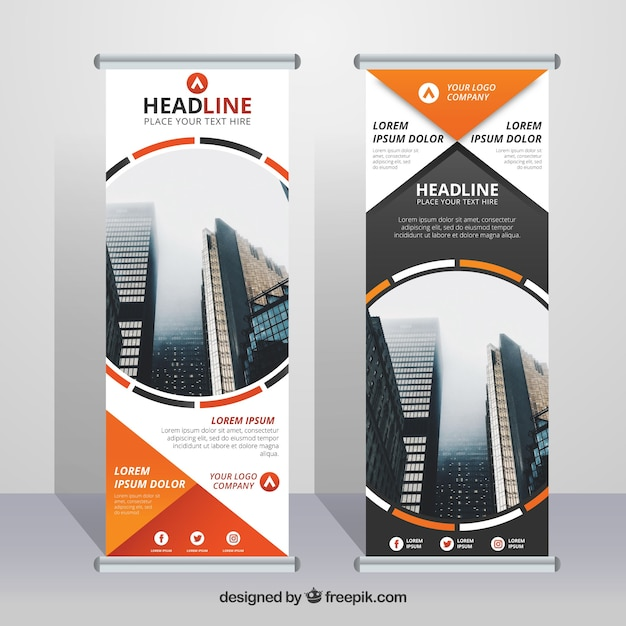 Business roll up with decorative forms in orange tones Free Vector