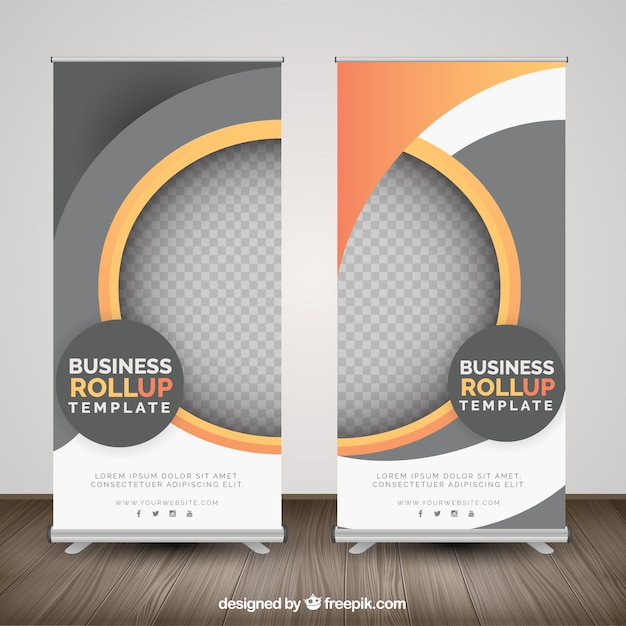 Business roll up with geometric shapes in orange tones Free Vector