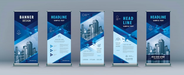 Business rollup set. standee design. xbanner template, abstract geometric diamond Premium Vector