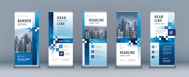 Business rollup set. standee design. xbanner template Premium Vector