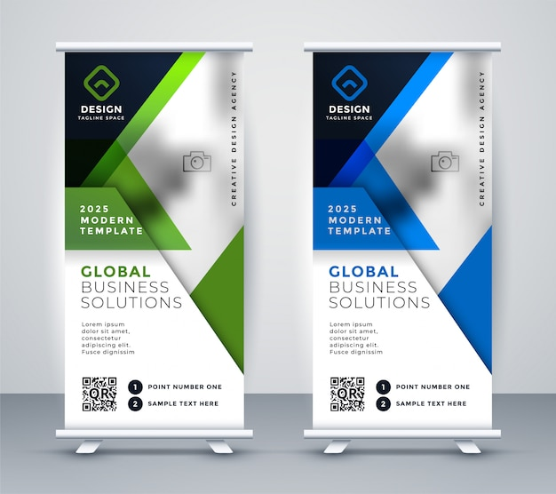 Business rollup vertical standee geometric banner Free Vector