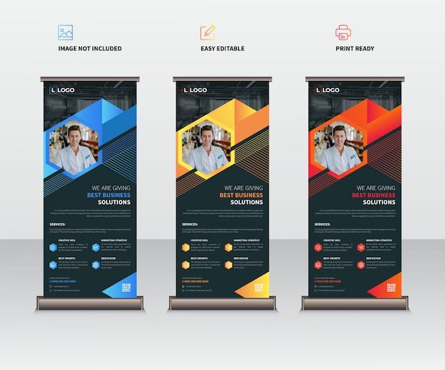 ビジネスロールアップxバナーテンプレートセット Premiumベクター