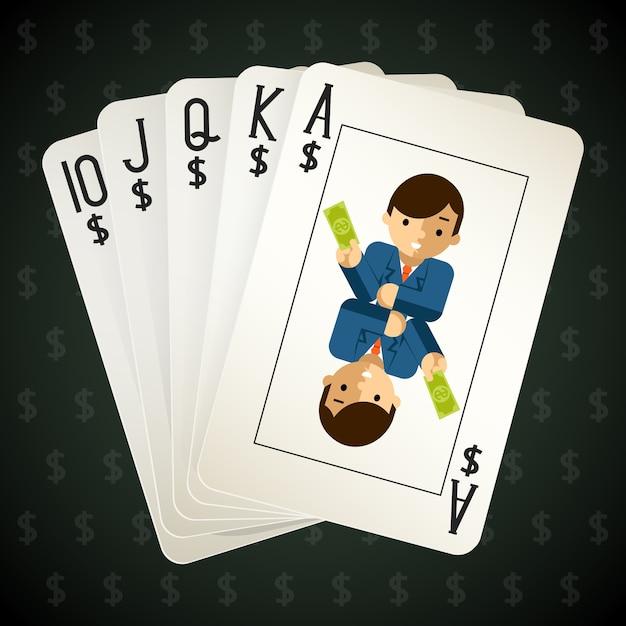 Carte da gioco scala reale di affari. street e combinazione e poker. Vettore gratuito