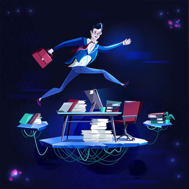 Business - running overcoming obstacles, concept vector cartoon illustration. Free Vector