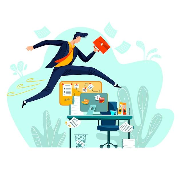 Бизнес - запуск преодоления препятствий, концепция векторные иллюстрации шаржа. Бесплатные векторы