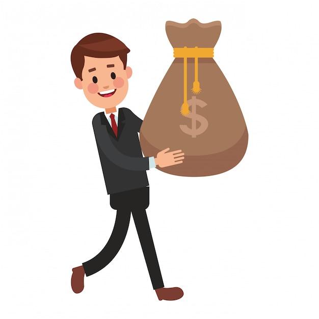 Business saving money cartoon Premium Vector