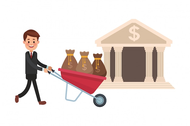Business saving money cartoon Premium Vector