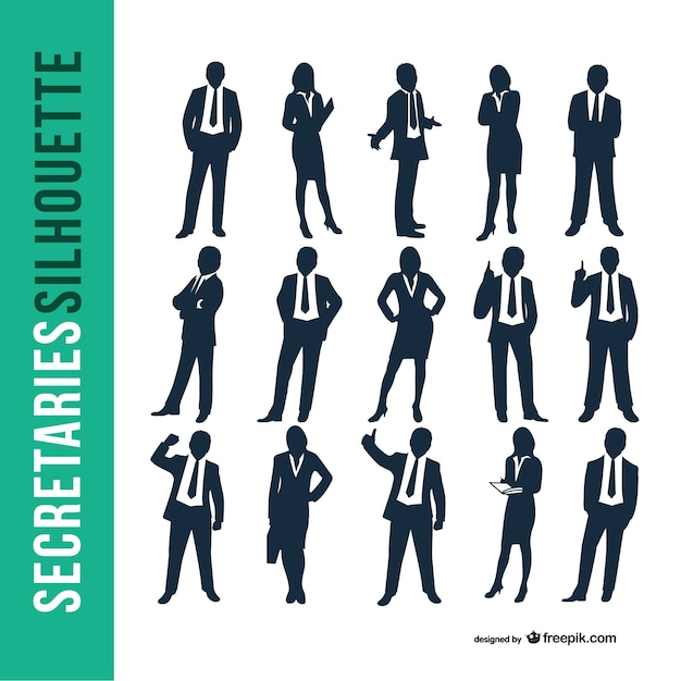 Business secretaries silhouette set Free Vector